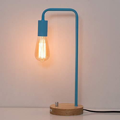 HAITRAL Bedside Desk Lamp - Modern Bedside Table Lamp, Stylish Industrial Lamps for Bedrooms, Office, Girls Room, Dorm Room - Light Blue (Without Bulb) ()