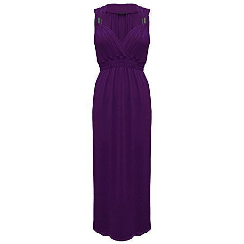 Oops Outlet - Vestido de fiesta para mujer Purple - Sleeveless Springs Coils Gathered Neck S