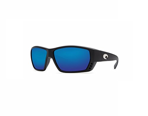 Costa Del Mar Tuna Alley Sunglasses, Matte Black, Blue Mirror 580 Glass Lens by Costa Del Mar
