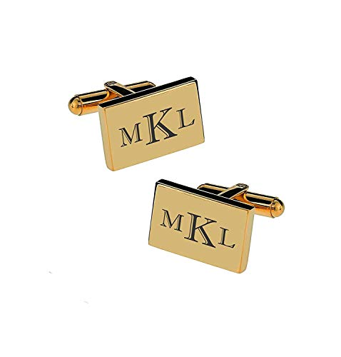 Personalized Gold Cufflinks Monogram Engraved Free
