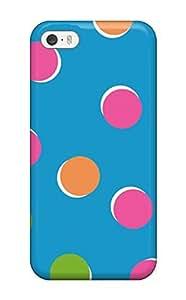 AWU DIYZippyDoritEduard Iphone 5/5s Hybrid Tpu Case Cover Silicon Bumper Bright Colorful Dots In Blue
