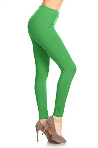 SXL128-KellyGreen Basic Solid Leggings, Plus Size