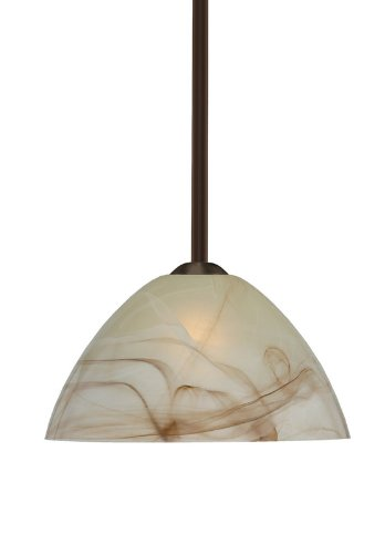 Besa Lighting 1TT-420183-LED-BR 1X6W GU24 Tessa LED Pendant with Mocha Glass, Bronze Finish