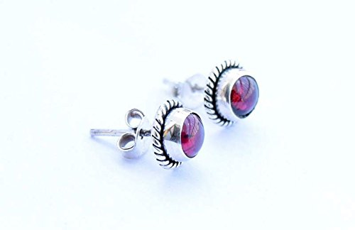 925 Sterling Silver Natural Garnet Stud Post Earring Gemstone Earring 6 MM Round Girl Women Gift