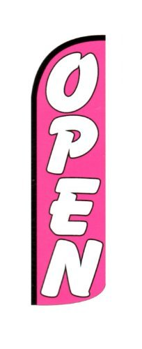 OPEN (Pink) X-Large ''WINDLESS'' Flag by Alotta Signs