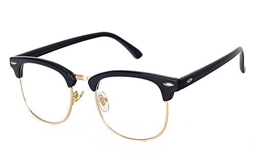 Unisex Retro Classic Half Frame Flash Mirror Lens Club Vintage Sunglasses (Black Frame Plain - Sunglasses Plain Black