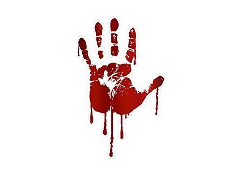 LIFE SIZE Bloody Hand Print Decals Walking Dead Zombie Halloween Prop Stickers (Left Hand) -