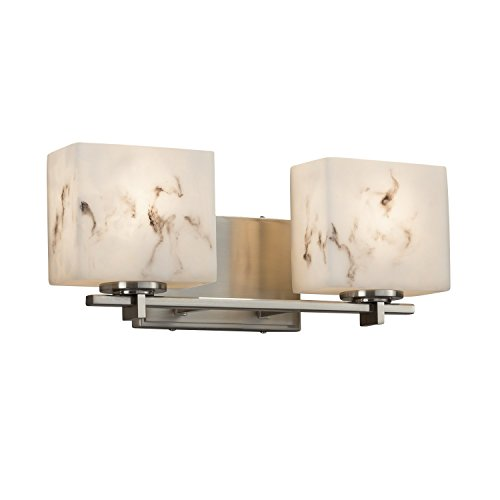 LumenAria - Era 2-Light Bath Bar - Rectangle Faux Alabaster Shade - Brushed Nickel - Alabaster Faux