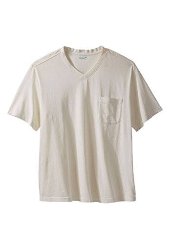KingSize KS Island Men's Big & Tall V-Neck Saltwash Tee, Cream Big-4Xl (Pocket Only T-shirt)
