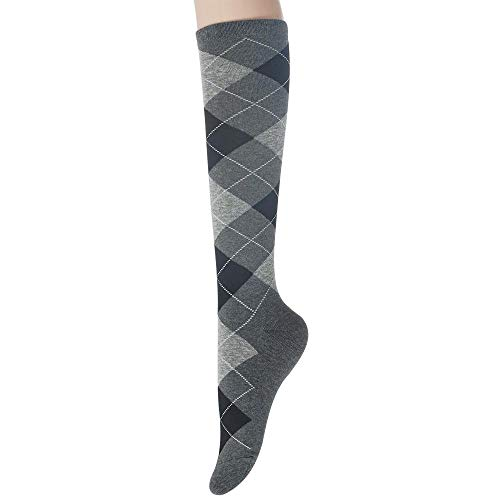 Sockstheway Womens Casual Knee High Socks with Argyle Pattern Style (GrayBlack, 1pair)