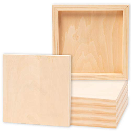 Juvale 6-Pack 8x8 Unfinished Wood Canvas Cradled Panel Boards for Painting, Drawing, Arts & Crafts -