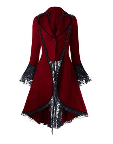 llowtail Lace Long Sleeve Tuxedo Suits Jacket Trench Coat Red 2XL ()