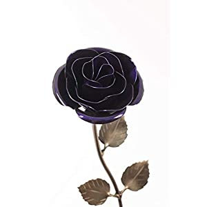 Personalized Gift Hand-Forged Wrought Iron Purple Metal Rose - Valentine's Day Gift 66