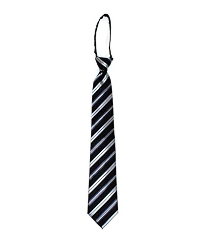 Side Barred Pre-tied Microfiber Poly Woven Zip-up Tie (Black)