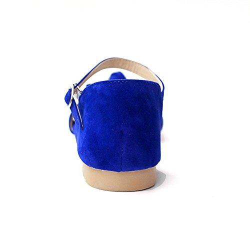Sandali Con Fibbia Tinta Unita A Tacco Alto A Vita Bassa Blu