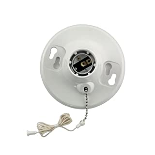 Leviton 8827-CW1 One-Piece Urea Outlet Box Mount, Incandescent Lampholder, Pull Chain, White