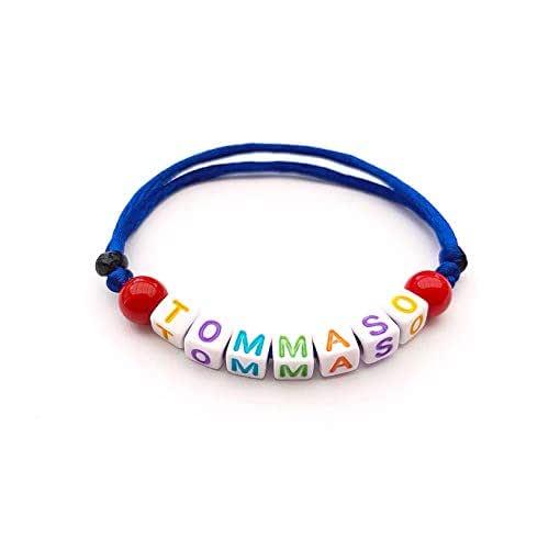 Pulsera con nombre bisutería con texto, mensaje; regalo personalizado para adultos y niños; letras del alfabeto Hecho a mano Handmade TOMMASO TOM ANDREA SELINA