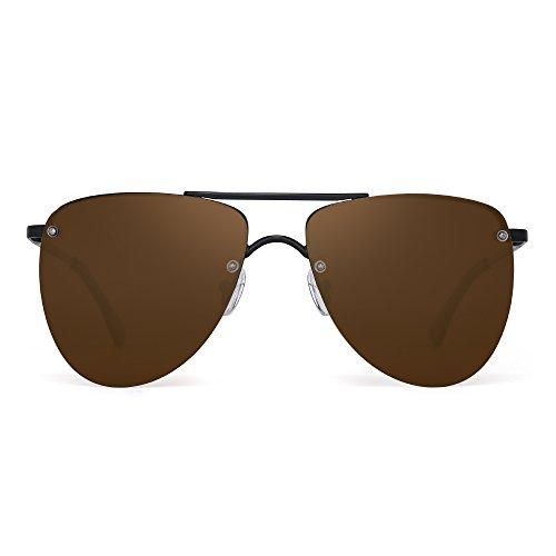 Polarized Rimless Aviator Sunglasses Flat Mirrored Lenses Spring Hinge Men Women (Black / Polarized - Mirrored Oversized Aviators