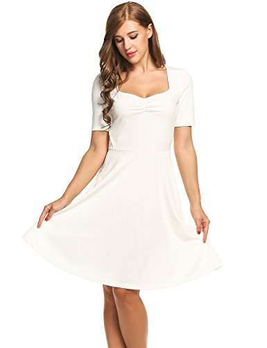 Women Cute V Neck Sweet Scallop Pleated Skater Party Dress(X-Large,White) (Sexy Western Dress)