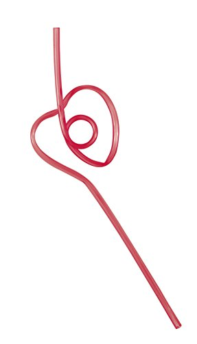 Plastic Heart Shaped Squiggle Straws