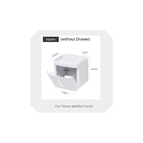 Napkin Holder Bathroom Waterproof Tissue Box Plastic Toilet Paper Holder Wall Mounted Storage Box Double Layer Napkin Dispenser Organizer,Square (No Drawer)