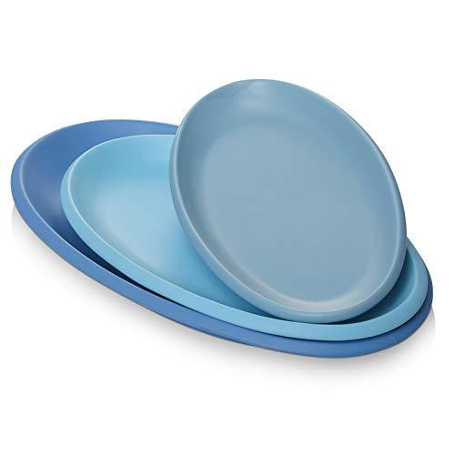 DOWAN Large Serving Platter Ceramic, 16″/14″/12″ Oval Platter Serveware, Blue Oval Serving Plates Dinner Plates Serving Dishes, Ideal for Parties, Restaurant, Dessert Shop, Set of 3