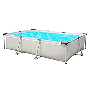 Sekey Piscina desmontable, cuadrada piscina de jardín de verano, piscina de metal 300 x 207 x 65 cm – Gris