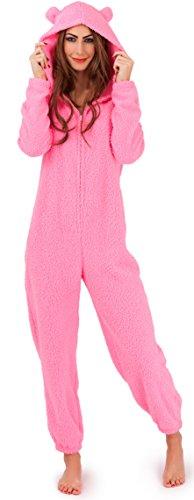 Con 3D Tuta Loungeable novità Animal Pink Rose Donna Sherpa Cappuccio 1SqHRwT16