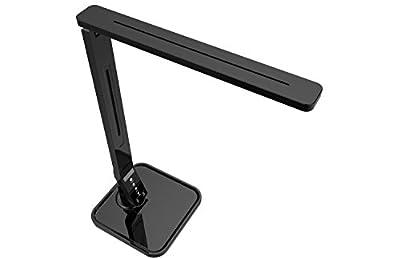 LED Desk Lamp Fugetek FT-L698, 5-Level Dimmer, Touch Control Panel, 1-Hour Auto Timer, 5V/1A USB Charging Port - Jet Black