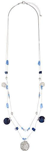Izaro 2 Row Blue Bead & Shell Illusion Necklace One Size Silver tone/blue (Multi Row Illusion Necklace)