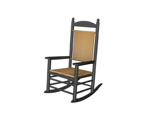 Recycled Plastic Jefferson Rocker (with woven seat and back) by Polywood Frame Color: Black