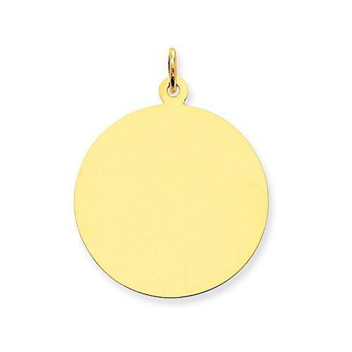 Engravable Charm Disc (Brilliant Bijou Solid 10k Yellow Gold Plain .013 Gauge Circular Engravable Disc Charm 32x25 mm)