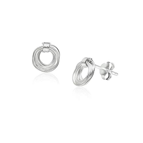 Big Apple Hoops - Genuine Sterling Silver Delicate Swirl and Spiral Wire Minimalist Stud Earrings | Beautiful Polish Finishes ()