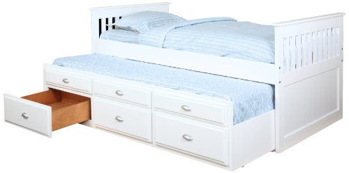 Amazon.com: Bernards Captains Bed with Trundle and Storage, Silver ...