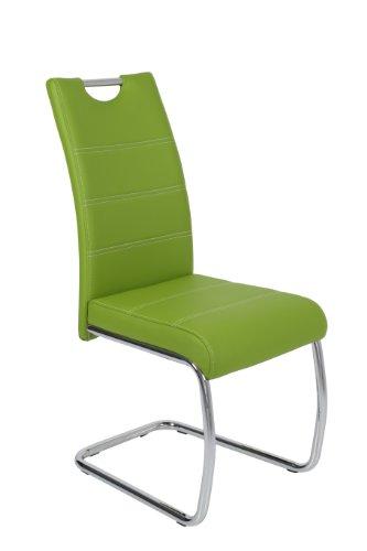 Apollo 810857 Schwingstuhl, Flora S 4er Pack grün, Metallgestell verchromt, Lederlook