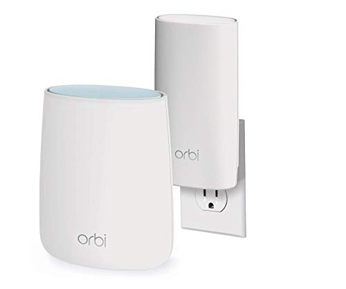 (NETGEAR Orbi Compact Wall-Plug Whole Home Mesh WiFi System - WiFi Router and Wall-Plug Satellite Extender with speeds up to 2.2 Gbps Over 3,500 sq. feet, AC2200 (RBK20W))