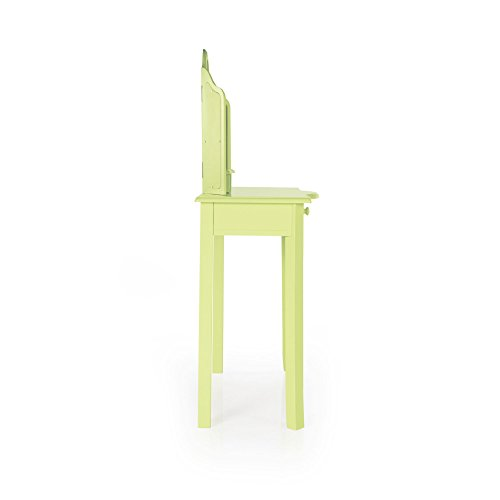 Guidecraft Vanity Table and Stool Set with Mirror and Make-Up Drawer - Children's Furniture - Light Green by Guidecraft (Image #4)