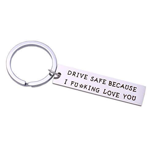 Runalp Drive Safe Because I Fuking Love You, Stainless Steel Keychain, Style 4
