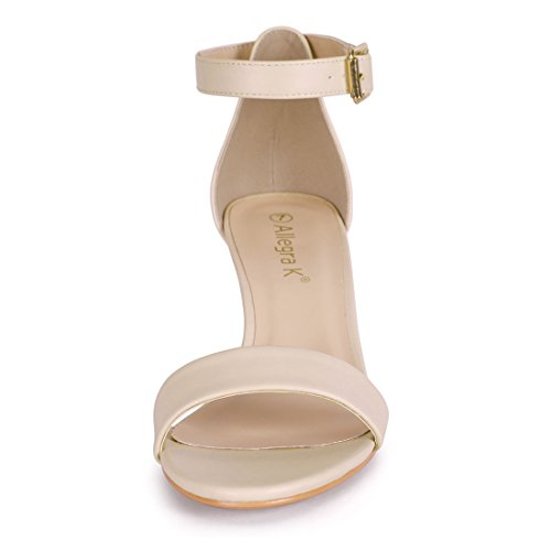 Strap Heel Women Allegra Open Sandals Nude Ankle Kitten Toe K gCqwxf4vwT