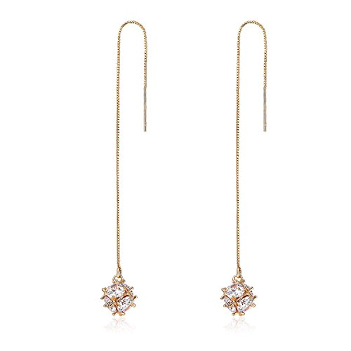 Windshow 18K Yellow Gold Plated CZ Diamond Cube Long Threader Drop Dangle Earrings (Solid Threader Earrings)