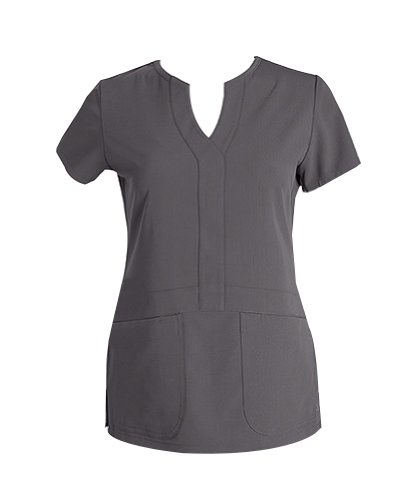 Grey's Anatomy Junior Fit 2-Pocket Mock Wrap Scrub Top With Lowered Waist Detail Magnum, X-Large