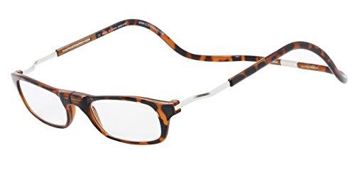CliC Magnetic Closure Reading Glasses XXL with Adjustable Headband Tortoise 1.50 (Bridge Glasses Split)