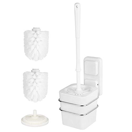 Wall Mounted Toilet Brush and Holder with Removable Toilet Brush Mounting Without Drilling Bonus 2 Replacement Toilet Bowl Brush Heads
