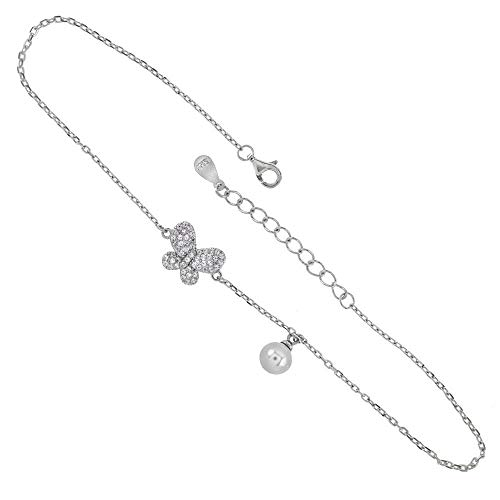 - Womens 925 Sterling Silver Rolo D/C Chain 6MM Pearl CZ Butterfly RH Anklet