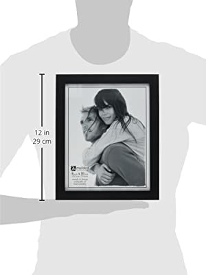 Malden International Designs Linear Classic Wood Picture Frame, Holds 3.5x5 Picture, Split Double, Black