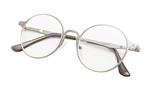 (Round Metal Reading Glasses for Men and Women Clear Lens Silver Frame +3.5)