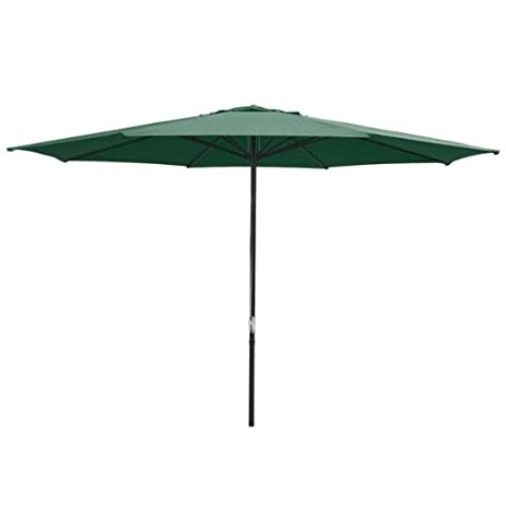 Oversized Green 13 Feet Diameter Round Outdoor Patio Umbrella W/ Pulley  Steel Pole 9 1