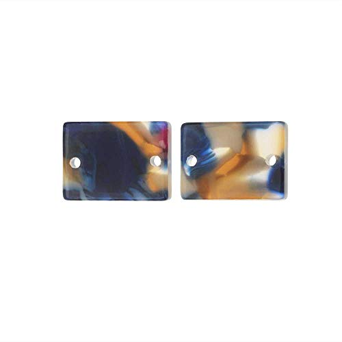 Zola Elements Acetate Connector Link, Twilight Rectangle 14x10mm, 2 Pieces, Blue Multi-Colored ()