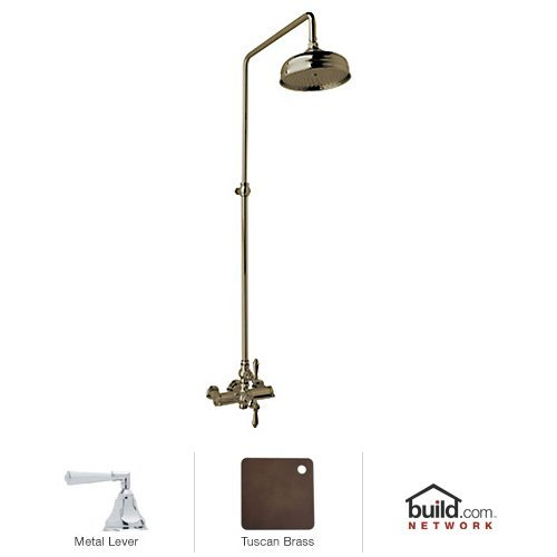 Rohl AKIT49172LHTCB Country Bath Shower System with Exposed Thermostatic Valve, Tuscan Brass