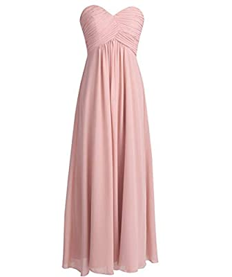 YiZYiF Sweetheart Bridesmaid Chiffon Prom Dresses Strapless Long Evening Gowns